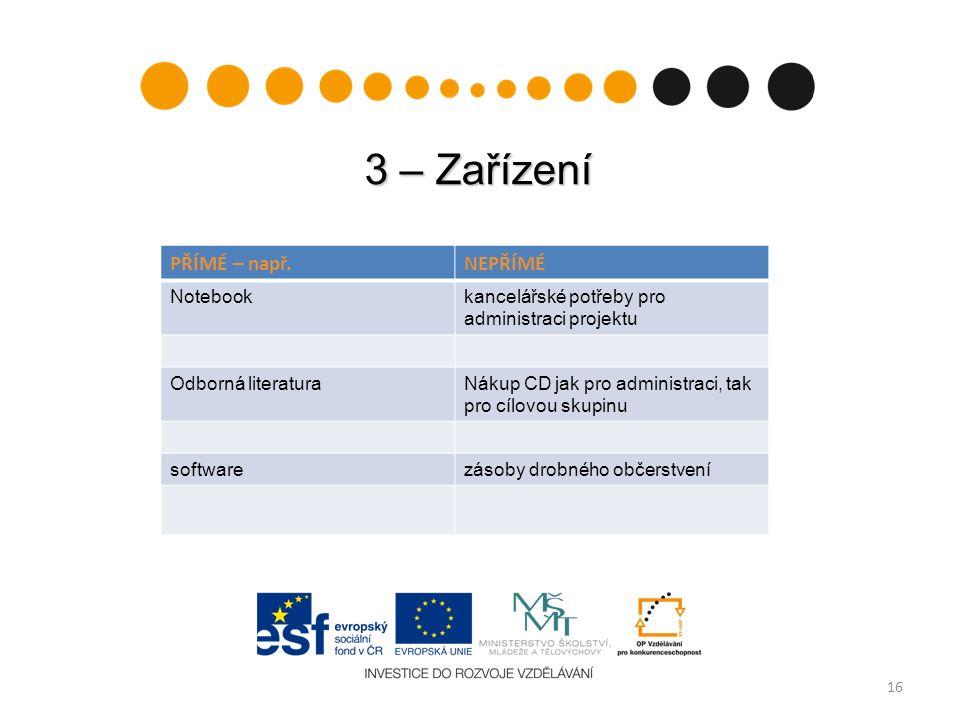 3 – Zařízení 16 PŘÍMÉ – např.NEPŘÍMÉ Notebookkancelářské potřeby pro administraci projektu Odborná literaturaNákup CD jak pro administraci, tak pro cí