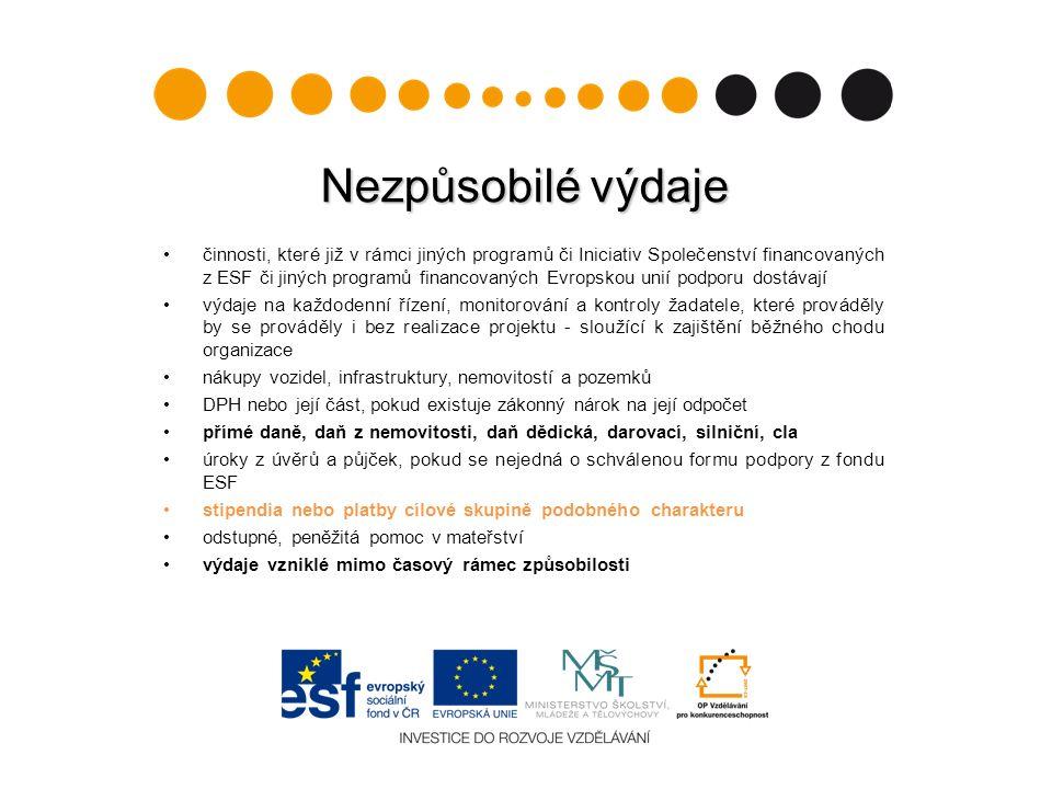 Nezpůsobilé výdaje činnosti, které již v rámci jiných programů či Iniciativ Společenství financovaných z ESF či jiných programů financovaných Evropsko