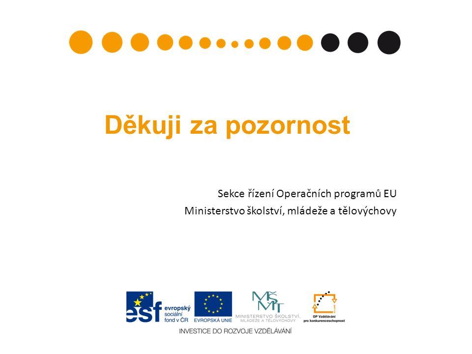Děkuji za pozornost Sekce řízení Operačních programů EU Ministerstvo školství, mládeže a tělovýchovy
