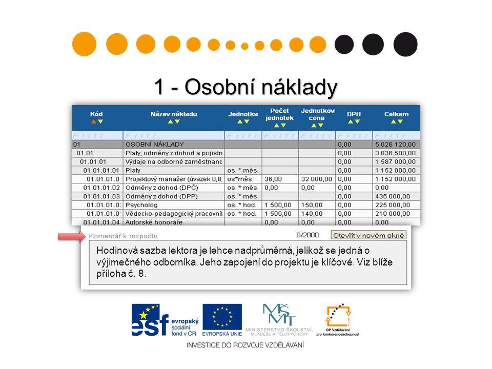 1 - Osobní náklady Hodinová sazba lektora je lehce nadprůměrná, jelikož se jedná o výjimečného odborníka. Jeho zapojení do projektu je klíčové. Viz bl