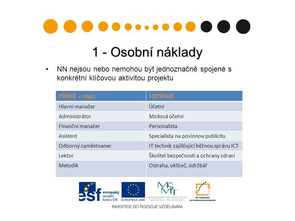 1 - Osobní náklady NN nejsou nebo nemohou být jednoznačně spojené s konkrétní klíčovou aktivitou projektu PŘÍMÉ – např.NEPŘÍMÉ Hlavní manažerÚčetní Ad