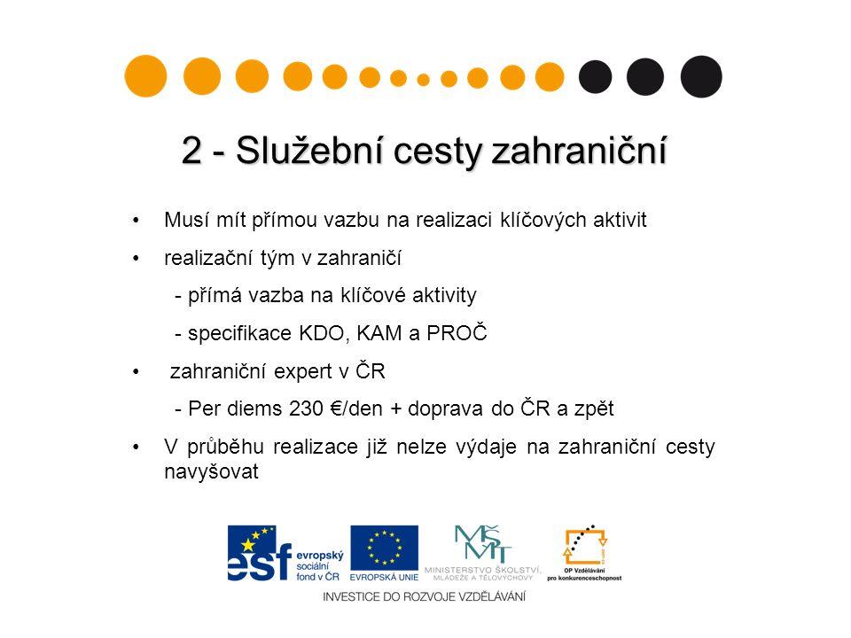 2 - Služební cesty zahraniční Musí mít přímou vazbu na realizaci klíčových aktivit realizační tým v zahraničí - přímá vazba na klíčové aktivity - spec
