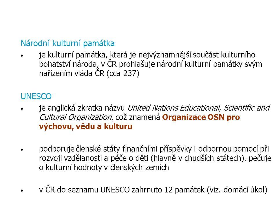 Národní kulturní památka je kulturní památka, která je nejvýznamnější součást kulturního bohatství národa, v ČR prohlašuje národní kulturní památky sv