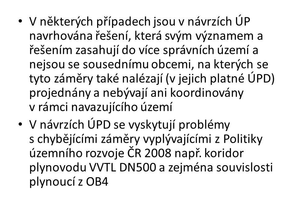 V některých případech jsou v návrzích ÚP navrhována řešení, která svým významem a řešením zasahují do více správních území a nejsou se sousednímu obcemi, na kterých se tyto záměry také nalézají (v jejich platné ÚPD) projednány a nebývají ani koordinovány v rámci navazujícího území V návrzích ÚPD se vyskytují problémy s chybějícími záměry vyplývajícími z Politiky územního rozvoje ČR 2008 např.