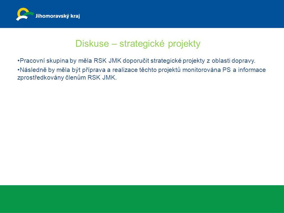 Diskuse – strategické projekty Pracovní skupina by měla RSK JMK doporučit strategické projekty z oblasti dopravy.