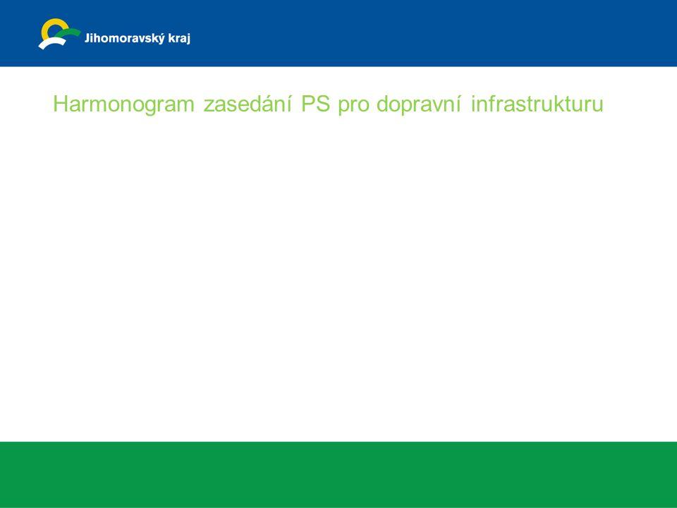 Harmonogram zasedání PS pro dopravní infrastrukturu