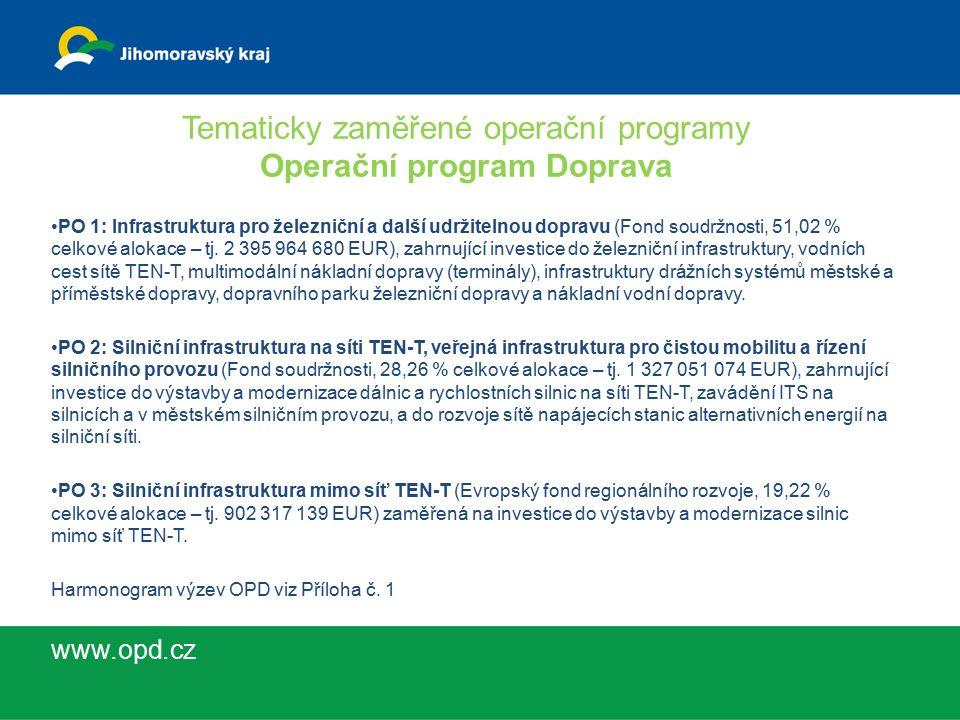 Tematicky zaměřené operační programy Operační program Doprava PO 1: Infrastruktura pro železniční a další udržitelnou dopravu (Fond soudržnosti, 51,02 % celkové alokace – tj.