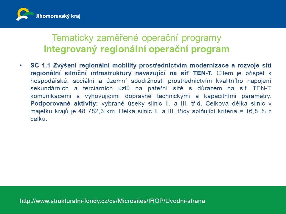 Tematicky zaměřené operační programy Integrovaný regionální operační program SC 1.1 Zvýšení regionální mobility prostřednictvím modernizace a rozvoje sítí regionální silniční infrastruktury navazující na síť TEN-T.