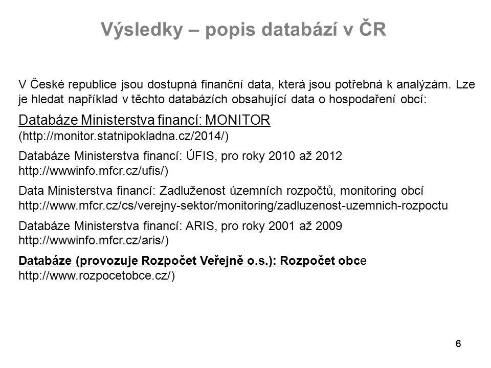 66 Výsledky – popis databází v ČR V České republice jsou dostupná finanční data, která jsou potřebná k analýzám.