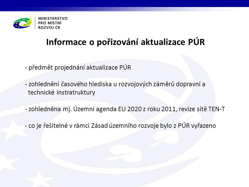 Informace o pořizování aktualizace PÚR - předmět projednání aktualizace PÚR - zohlednění časového hlediska u rozvojových záměrů dopravní a technické instratruktury - zohledněna mj.