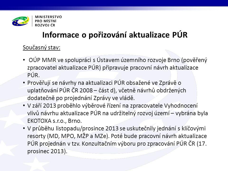 Hlavní časové milníkyČinnost listopad/prosinec 2013 Vypracování pracovní verze návrhu aktualizace PÚR včetně jednání s resorty (MD, MPO, MZe a MŽP) 17.
