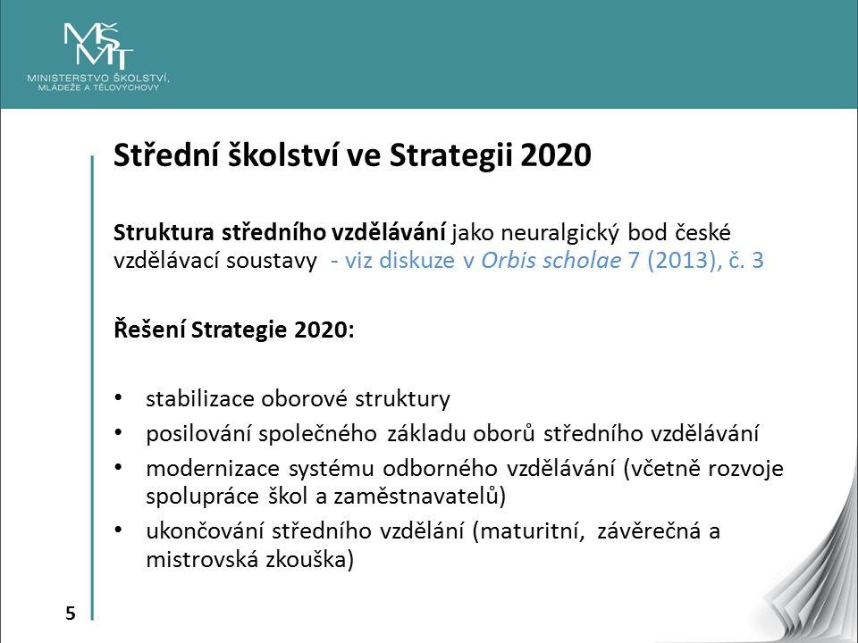 5 Střední školství ve Strategii 2020 Struktura středního vzdělávání jako neuralgický bod české vzdělávací soustavy - viz diskuze v Orbis scholae 7 (2013), č.