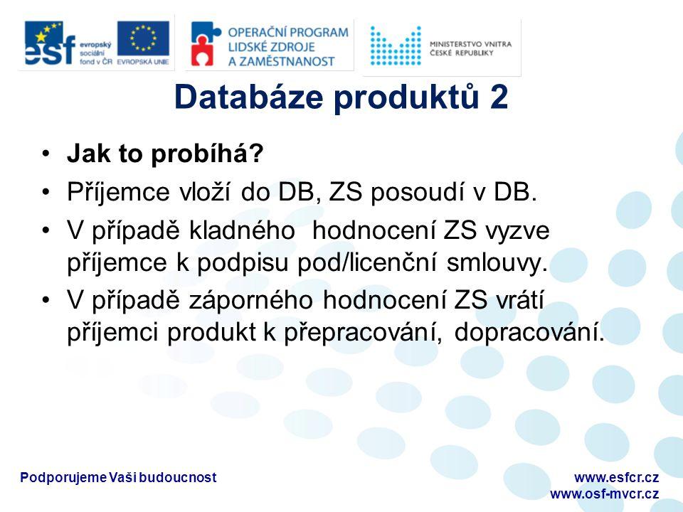 Databáze produktů 2 Jak to probíhá.Příjemce vloží do DB, ZS posoudí v DB.
