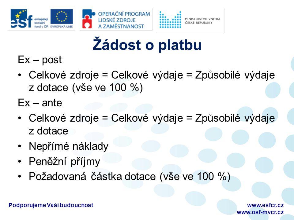 Žádost o platbu Ex – post Celkové zdroje = Celkové výdaje = Způsobilé výdaje z dotace (vše ve 100 %) Ex – ante Celkové zdroje = Celkové výdaje = Způsobilé výdaje z dotace Nepřímé náklady Peněžní příjmy Požadovaná částka dotace (vše ve 100 %) Podporujeme Vaši budoucnostwww.esfcr.cz www.osf-mvcr.cz