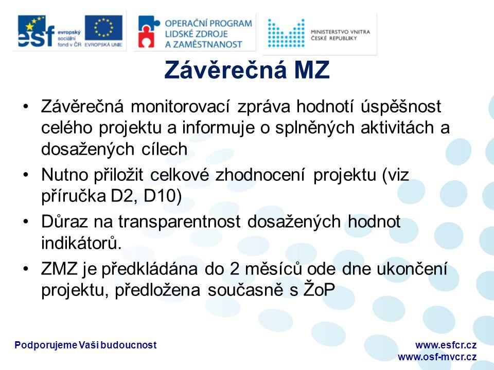 Závěrečná MZ Závěrečná monitorovací zpráva hodnotí úspěšnost celého projektu a informuje o splněných aktivitách a dosažených cílech Nutno přiložit celkové zhodnocení projektu (viz příručka D2, D10) Důraz na transparentnost dosažených hodnot indikátorů.