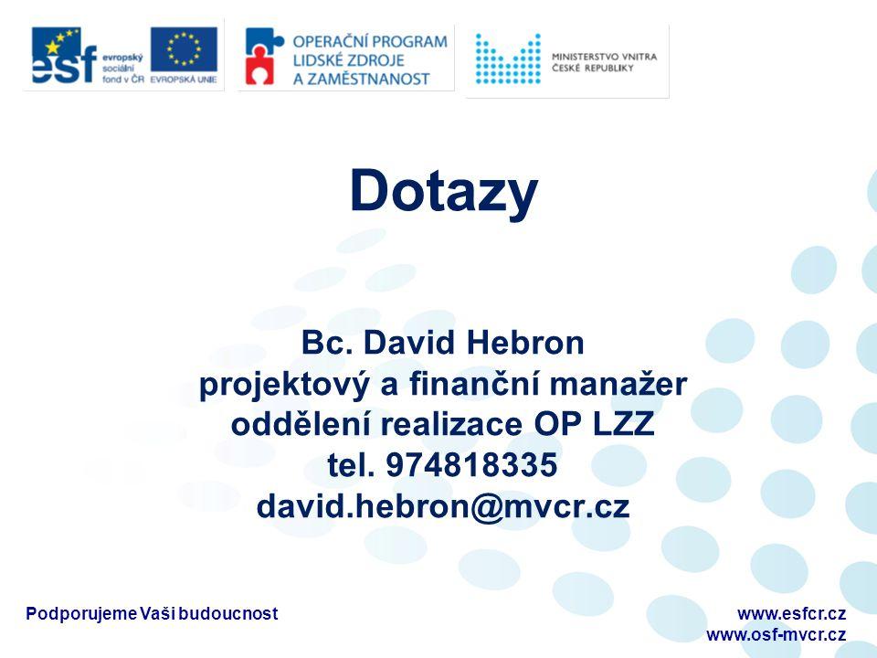 Dotazy Bc. David Hebron projektový a finanční manažer oddělení realizace OP LZZ tel.