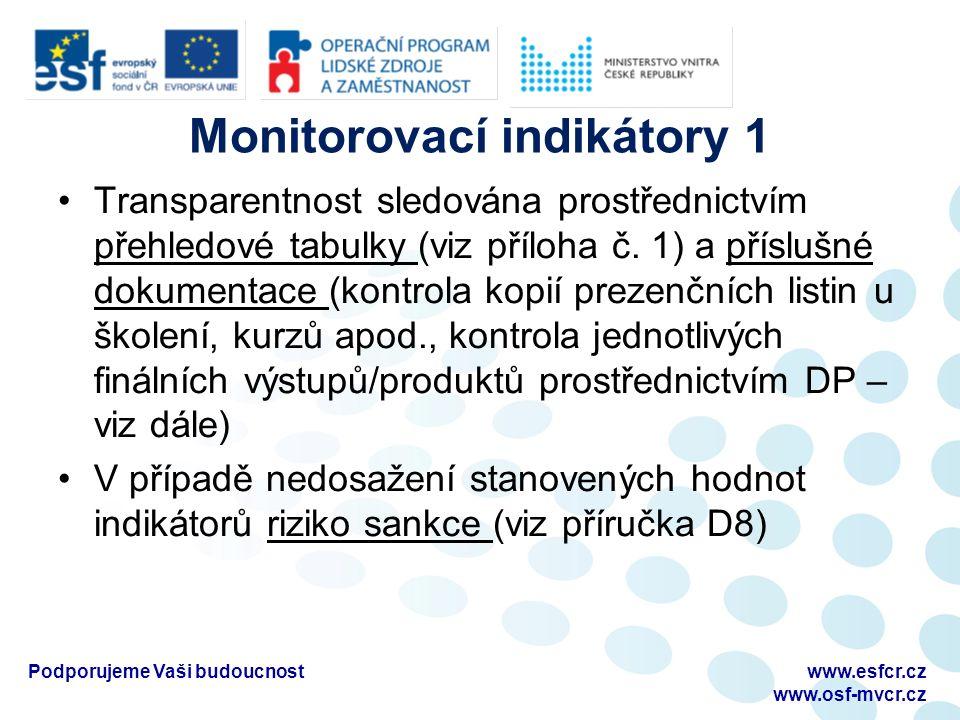 Monitorovací indikátory 2 Překročení cílové hodnoty není ze strany poskytovatele sankcionováno a do výše 120 % původně plánované hodnoty se započítává do průměru dosažených hodnot.