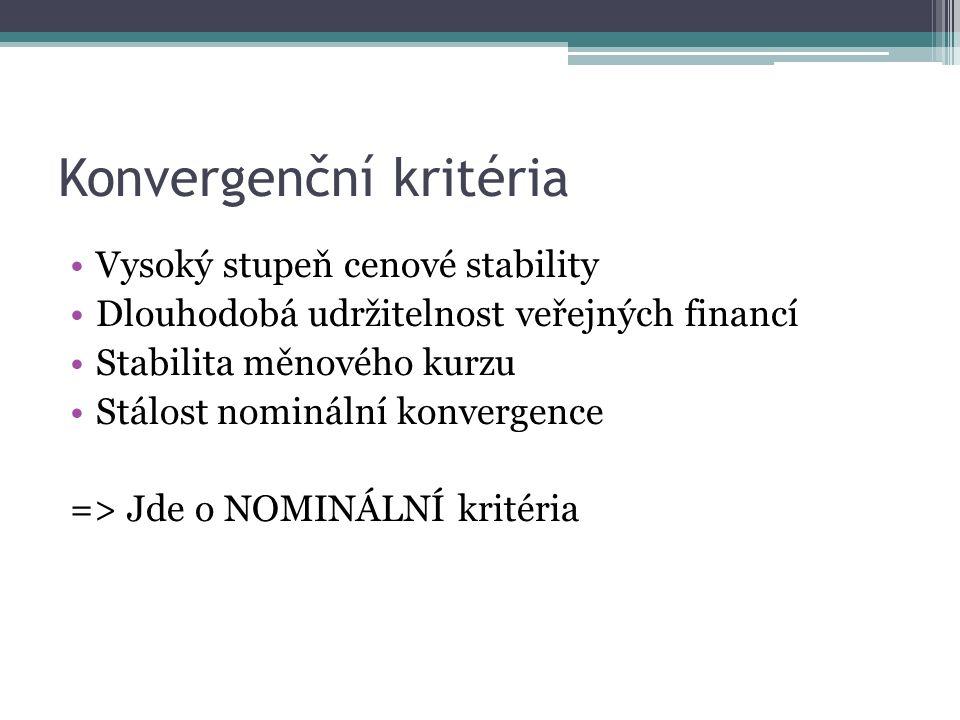 Konvergenční kritéria Vysoký stupeň cenové stability Dlouhodobá udržitelnost veřejných financí Stabilita měnového kurzu Stálost nominální konvergence => Jde o NOMINÁLNÍ kritéria