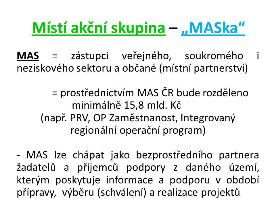 """Místí akční skupina – """"MASka MAS = zástupci veřejného, soukromého i neziskového sektoru a občané (místní partnerství) = prostřednictvím MAS ČR bude rozděleno minimálně 15,8 mld."""
