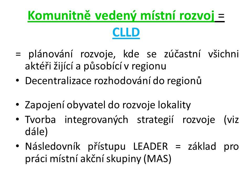 Komunitně vedený místní rozvoj = CLLD = plánování rozvoje, kde se zúčastní všichni aktéři žijící a působící v regionu Decentralizace rozhodování do regionů Zapojení obyvatel do rozvoje lokality Tvorba integrovaných strategií rozvoje (viz dále) Následovník přístupu LEADER = základ pro práci místní akční skupiny (MAS)
