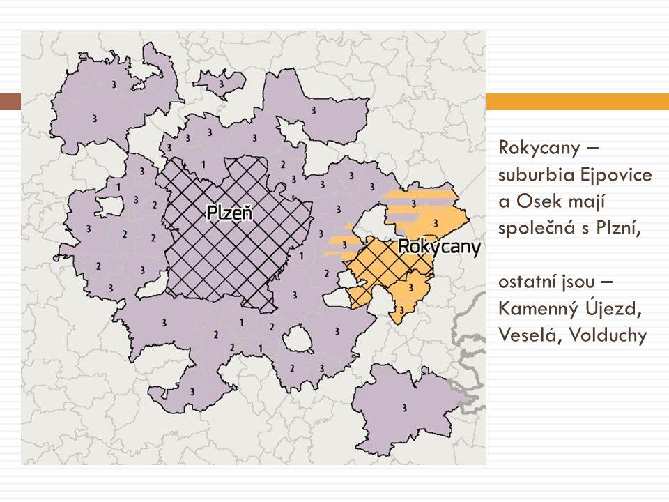 Rokycany – suburbia Ejpovice a Osek mají společná s Plzní, ostatní jsou – Kamenný Újezd, Veselá, Volduchy