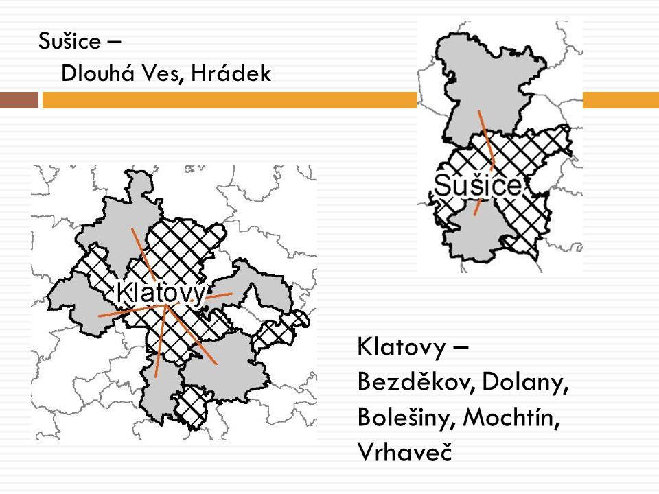 Sušice – Dlouhá Ves, Hrádek Klatovy – Bezděkov, Dolany, Bolešiny, Mochtín, Vrhaveč