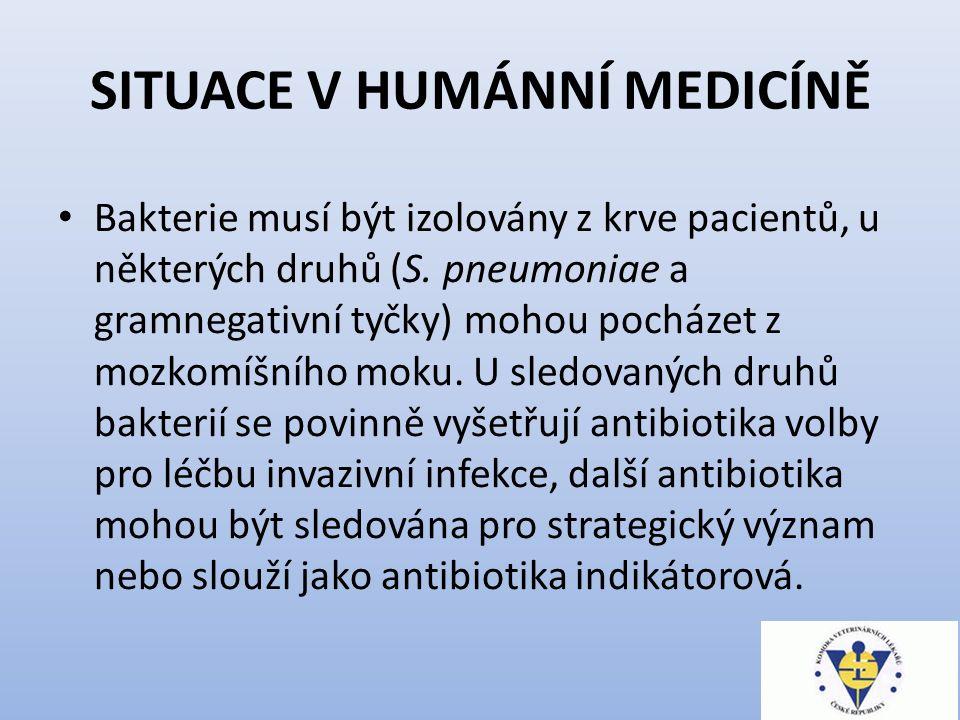 SITUACE V HUMÁNNÍ MEDICÍNĚ Bakterie musí být izolovány z krve pacientů, u některých druhů (S.