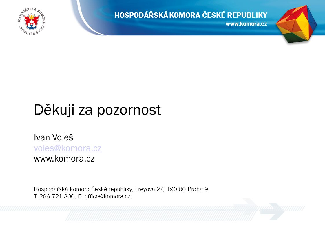 Děkuji za pozornost Ivan Voleš voles@komora.cz www.komora.cz Hospodářská komora České republiky, Freyova 27, 190 00 Praha 9 T: 266 721 300, E: office@