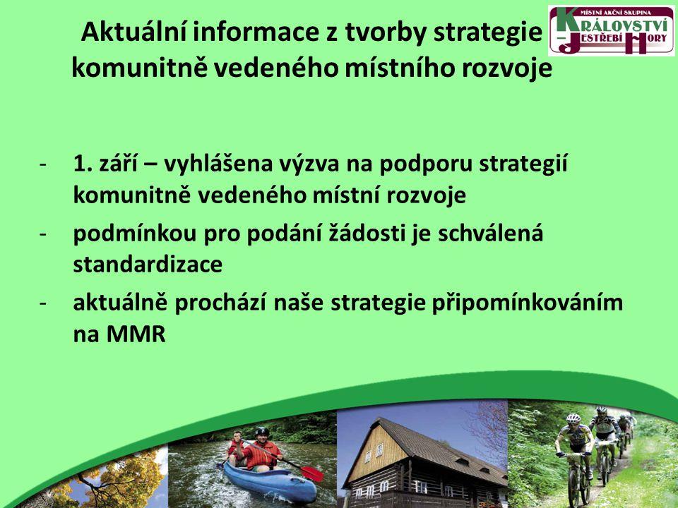 Aktuální informace z tvorby strategie komunitně vedeného místního rozvoje -1. září – vyhlášena výzva na podporu strategií komunitně vedeného místní ro