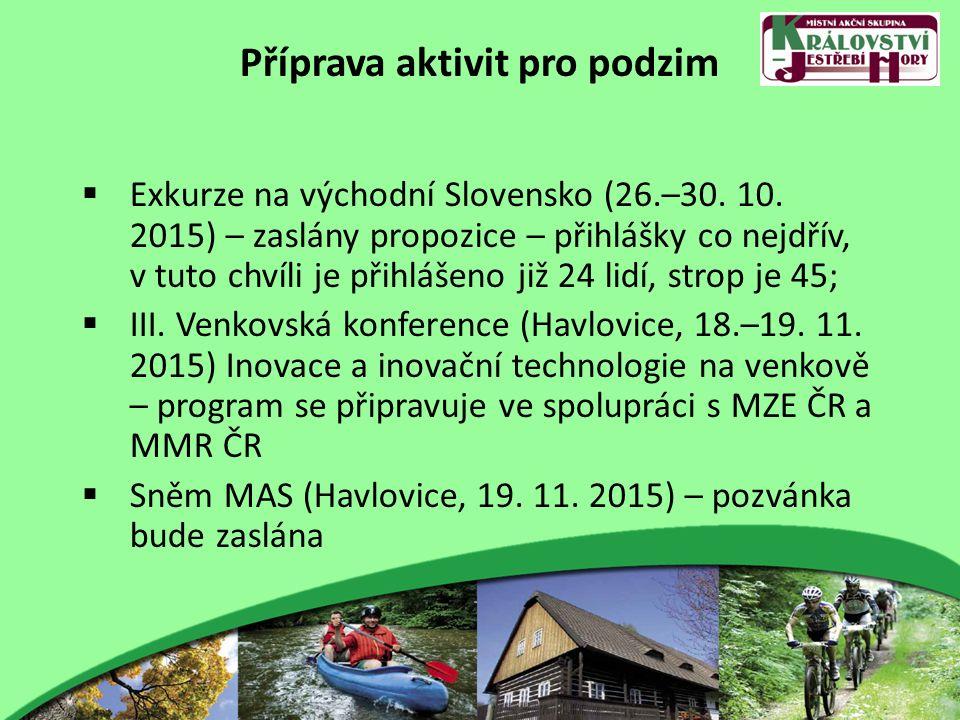 Příprava aktivit pro podzim  Exkurze na východní Slovensko (26.–30. 10. 2015) – zaslány propozice – přihlášky co nejdřív, v tuto chvíli je přihlášeno