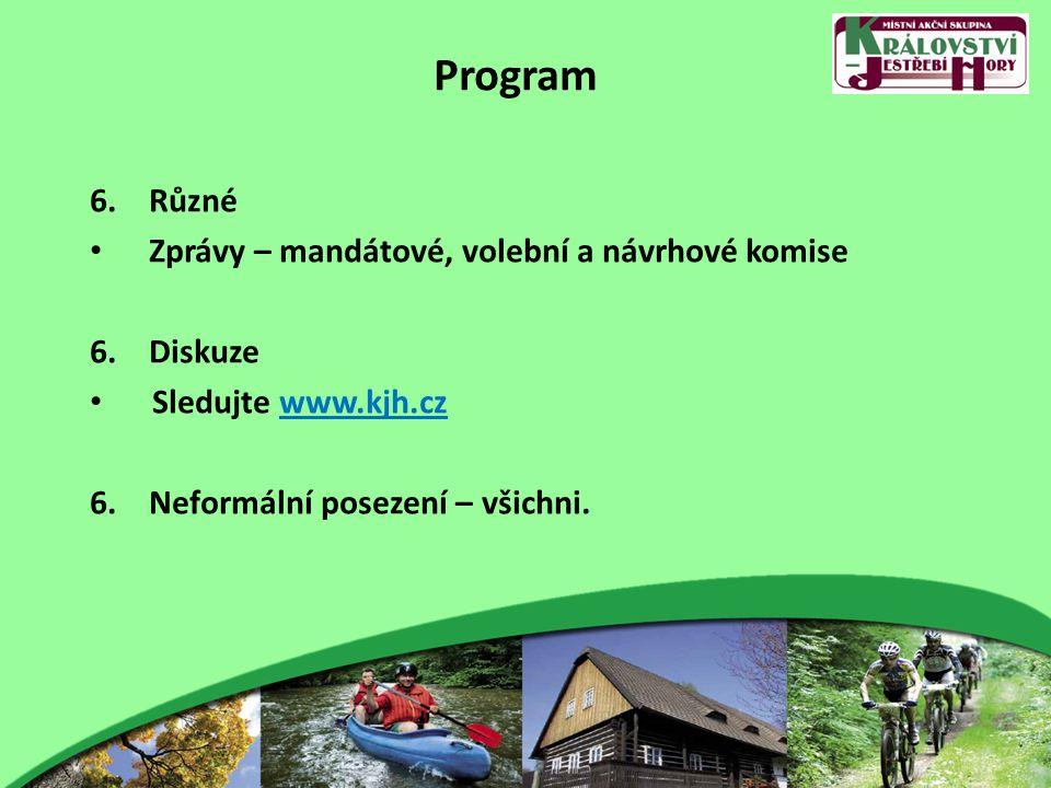 Program 6.Různé Zprávy – mandátové, volební a návrhové komise 6.Diskuze Sledujte www.kjh.cz 6.Neformální posezení – všichni.