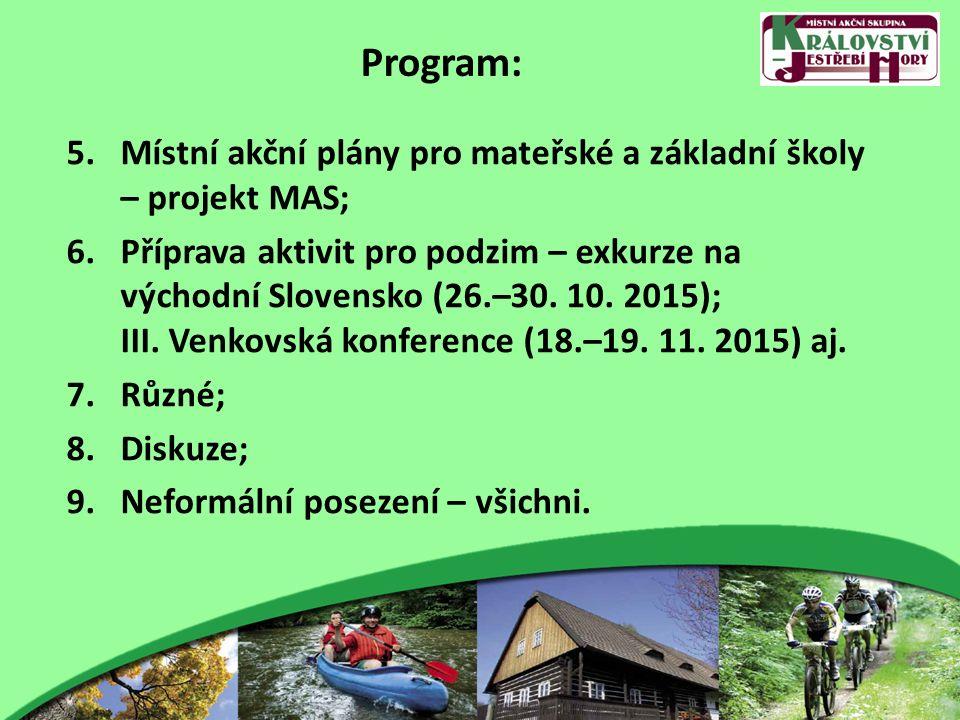Program: 5.Místní akční plány pro mateřské a základní školy – projekt MAS; 6.Příprava aktivit pro podzim – exkurze na východní Slovensko (26.–30. 10.