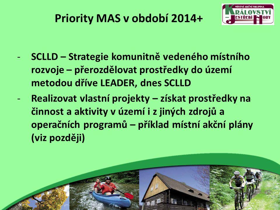 Priority MAS v období 2014+ -SCLLD – Strategie komunitně vedeného místního rozvoje – přerozdělovat prostředky do území metodou dříve LEADER, dnes SCLL