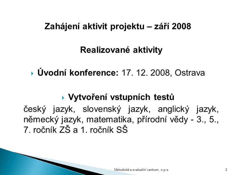 Zahájení aktivit projektu – září 2008 Realizované aktivity  Úvodní konference: 17. 12. 2008, Ostrava  Vytvoření vstupních testů český jazyk, slovens