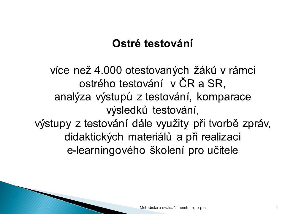 4 Ostré testování více než 4.000 otestovaných žáků v rámci ostrého testování v ČR a SR, analýza výstupů z testování, komparace výsledků testování, výstupy z testování dále využity při tvorbě zpráv, didaktických materiálů a při realizaci e-learningového školení pro učitele