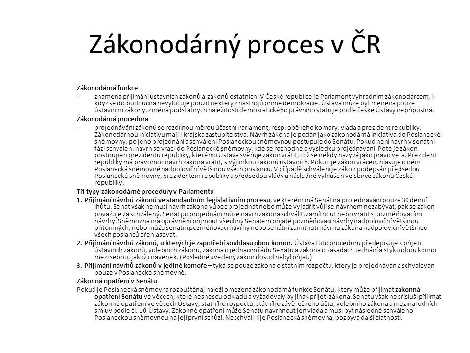Zákonodárný proces v ČR Zákonodárná funkce -znamená přijímání ústavních zákonů a zákonů ostatních.