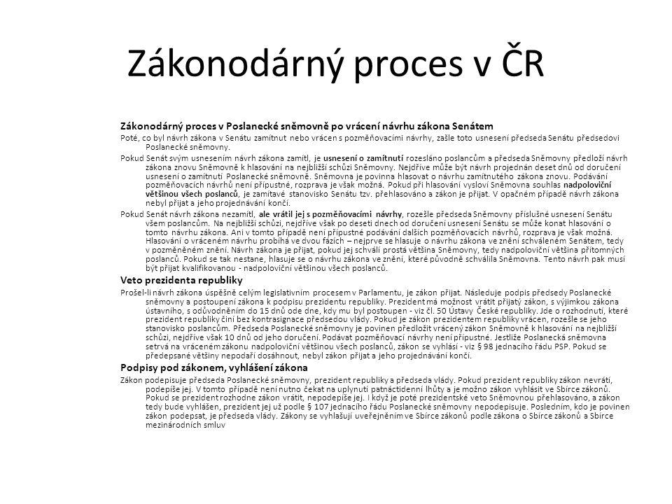 Zákonodárný proces v ČR Zákonodárný proces v Poslanecké sněmovně po vrácení návrhu zákona Senátem Poté, co byl návrh zákona v Senátu zamítnut nebo vrácen s pozměňovacími návrhy, zašle toto usnesení předseda Senátu předsedovi Poslanecké sněmovny.