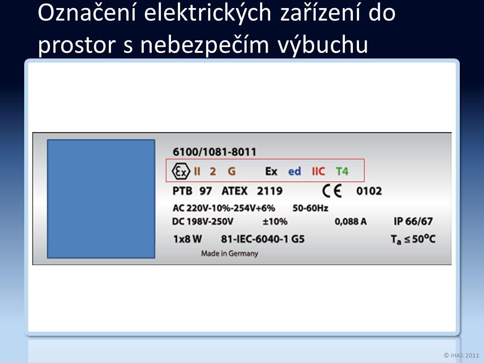© IHAS 2011 Označení elektrických zařízení do prostor s nebezpečím výbuchu