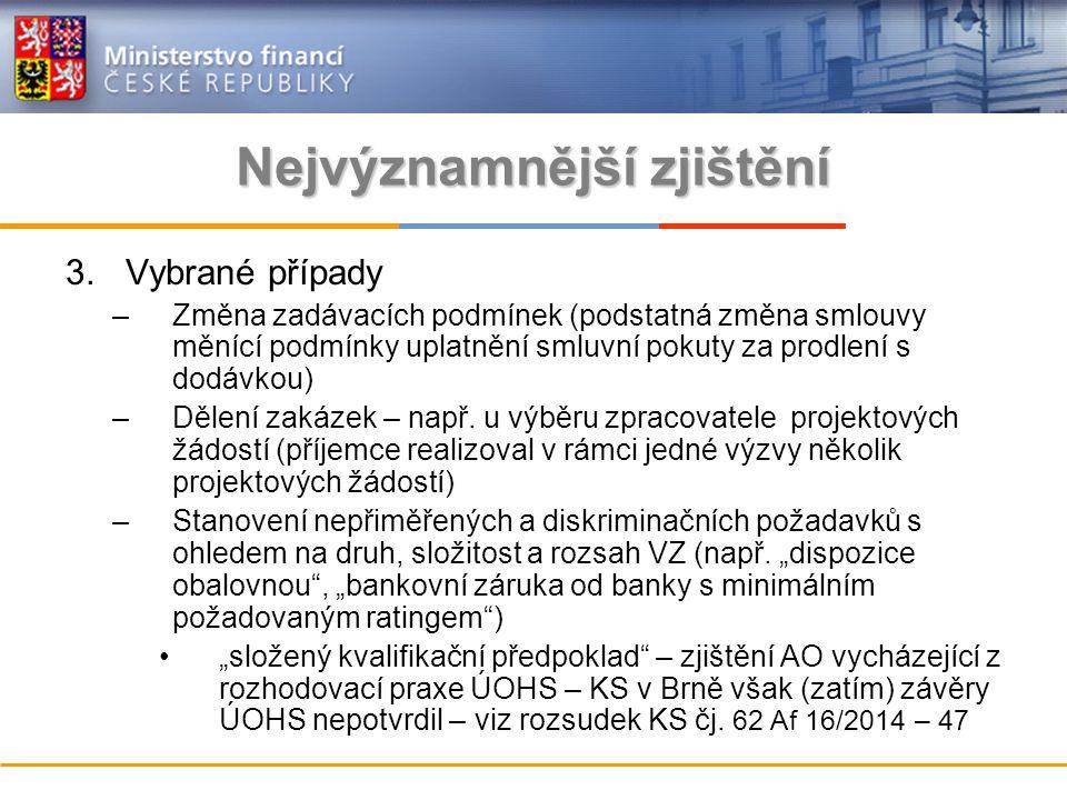 Nejvýznamnější zjištění 3.Vybrané případy –Změna zadávacích podmínek (podstatná změna smlouvy měnící podmínky uplatnění smluvní pokuty za prodlení s dodávkou) –Dělení zakázek – např.