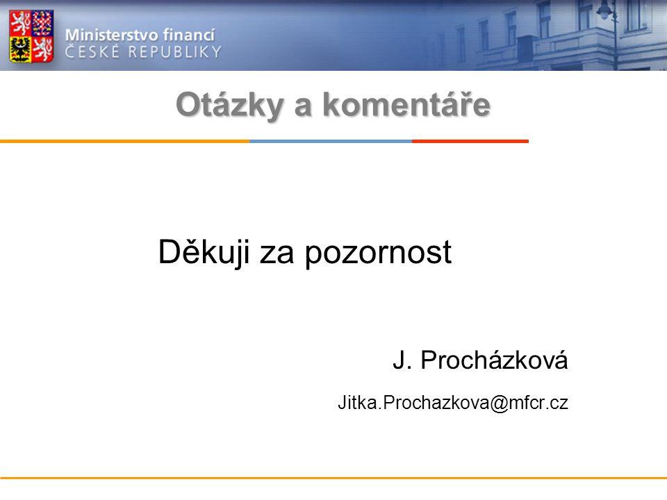 Děkuji za pozornost J. Procházková Jitka.Prochazkova@mfcr.cz Otázky a komentáře