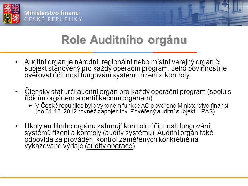 Role Auditního orgánu Auditní orgán je národní, regionální nebo místní veřejný orgán či subjekt stanovený pro každý operační program.