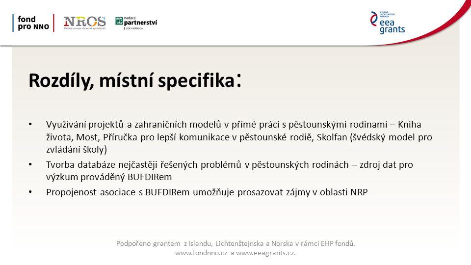 Rozdíly, místní specifika : Využívání projektů a zahraničních modelů v přímé práci s pěstounskými rodinami – Kniha života, Most, Příručka pro lepší komunikace v pěstounské rodiě, Skolfan (švédský model pro zvládání školy) Tvorba databáze nejčastěji řešených problémů v pěstounských rodinách – zdroj dat pro výzkum prováděný BUFDIRem Propojenost asociace s BUFDIRem umožňuje prosazovat zájmy v oblasti NRP Podpořeno grantem z Islandu, Lichtenštejnska a Norska v rámci EHP fondů.