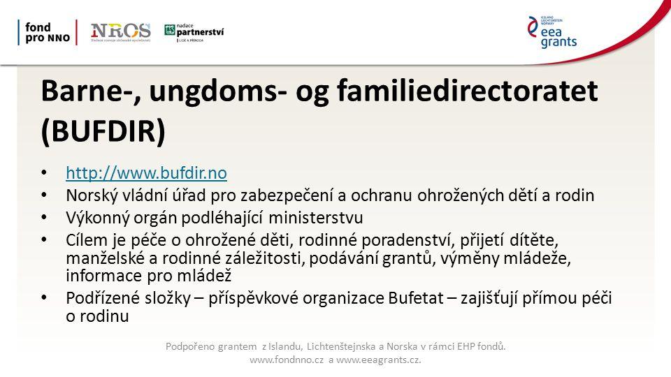 Barne-, ungdoms- og familiedirectoratet (BUFDIR) http://www.bufdir.no Norský vládní úřad pro zabezpečení a ochranu ohrožených dětí a rodin Výkonný orgán podléhající ministerstvu Cílem je péče o ohrožené děti, rodinné poradenství, přijetí dítěte, manželské a rodinné záležitosti, podávání grantů, výměny mládeže, informace pro mládež Podřízené složky – příspěvkové organizace Bufetat – zajišťují přímou péči o rodinu Podpořeno grantem z Islandu, Lichtenštejnska a Norska v rámci EHP fondů.