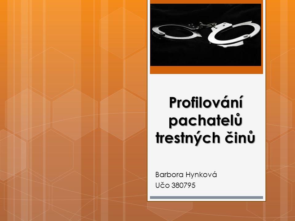 Profilování pachatelů trestných činů Barbora Hynková Učo 380795