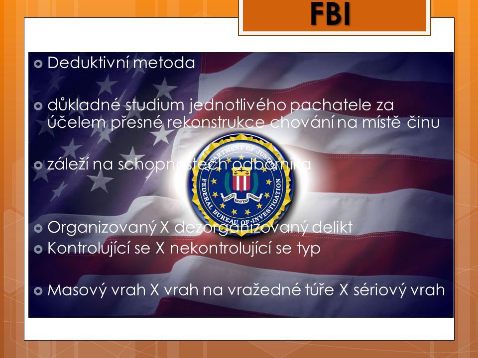  Deduktivní metoda  důkladné studium jednotlivého pachatele za účelem přesné rekonstrukce chování na místě činu  záleží na schopnostech odborníka  Organizovaný X dezorganizovaný delikt  Kontrolující se X nekontrolující se typ  Masový vrah X vrah na vražedné túře X sériový vrah FBI