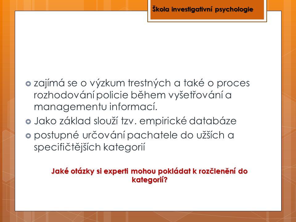  zajímá se o výzkum trestných a také o proces rozhodování policie během vyšetřování a managementu informací.