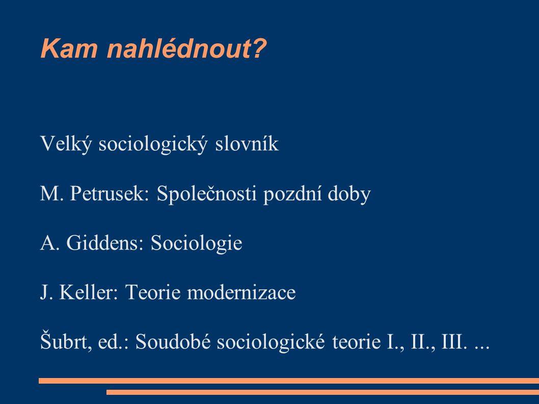 Kam nahlédnout.Velký sociologický slovník M. Petrusek: Společnosti pozdní doby A.