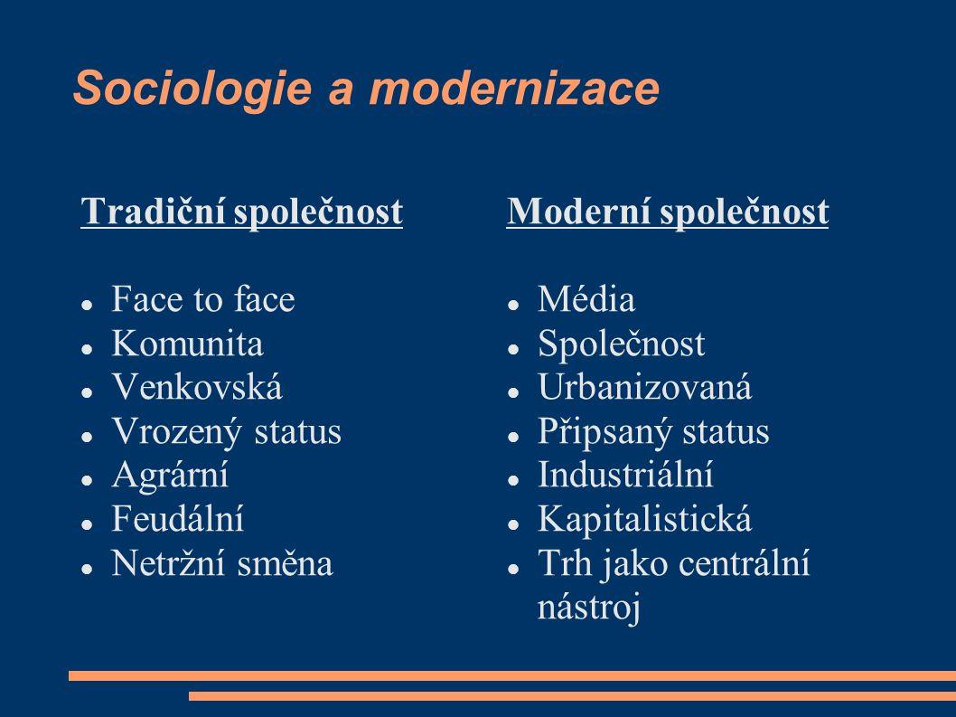 Sociologie a modernizace Tradiční společnost Face to face Komunita Venkovská Vrozený status Agrární Feudální Netržní směna Moderní společnost Média Sp