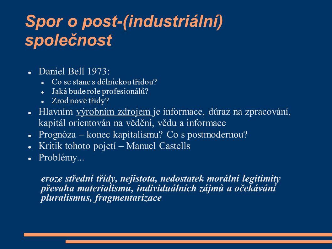 Spor o post-(industriální) společnost Daniel Bell 1973: Co se stane s dělnickou třídou? Jaká bude role profesionálů? Zrod nové třídy? Hlavním výrobním