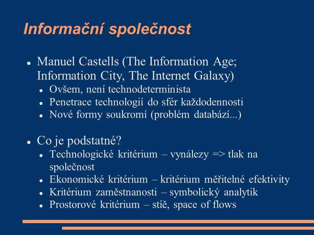 Informační společnost Manuel Castells (The Information Age; Information City, The Internet Galaxy) Ovšem, není technodeterminista Penetrace technologií do sfér každodennosti Nové formy soukromí (problém databází...) Co je podstatné.